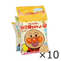 Fujiya Anpanman Infant's Biscuit Mini, 4 Connected Packs, 64g x 10