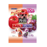 Jiggly Konjac Jelly Pouch, Apple + Grape, 12 (2 Types x 6)