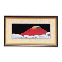 Panel Art, Rectangular w/Wood Frame, Chinkin Red Fuji