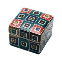 Kutaniyaki Colorful Porcelain Box (Cobbled Design)