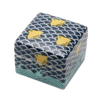 Kutaniyaki Colorful Porcelain Box (Seigai Wave & Houndstooth)