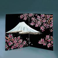 Black Yawaragi Folding Screen, Sakura Fuji