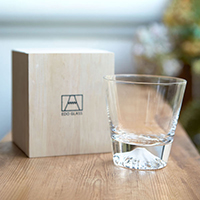 Edo Glass Mt. Fuji Glass, On-The-Rocks Glass, w/Wooden Box
