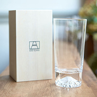 Edo Glass Mt. Fuji Glass, Tumbler, w/Wooden Box