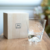 [Rare Item!] Edo Glass Mt. Fuji Glass, On-The-Rocks Glass, Firework Pattern, w/Wooden Box [Limited]