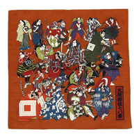 [Kabuki-za Original] Eighteen Best Kabuki Plays Shantung Handkerchief, Small, Brown