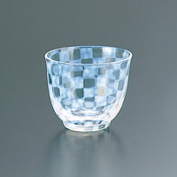 Taisho Roman Glass, Iced Tea Glass, Checkered
