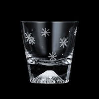 [Rare Item] Edo Glass, Mt. Fuji On-The-Rocks Glass, Snow Crystal Pattern, w/Wooden Box [Limited]