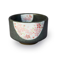 Matcha Bowl Cherry Blossom Pattern, Black