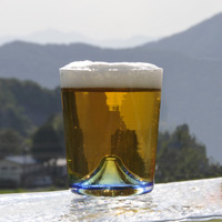 Blue Fuji Beer Glass