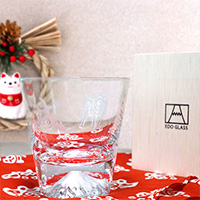 [Limited Quantity] Edo Glass Mount Fuji On-The-Rocks Glass, Year Of The Dog Pattern, w/Wooden Box