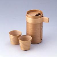 Magewappa Kurikyu Sake Server (2-go x 1) & Sake Cup (2) Set