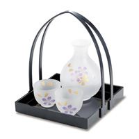 Hime-Kanoko Sake Set w/Handle Tray, 3 Item Set