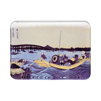 Hokusai Glass Paperweight, Ryogoku Bridge From Onmayagashi