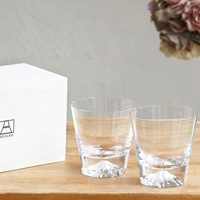 [Very Rare!] Edo Glass Mt. Fuji On-The-Rocks Glass Pair (2) w/Wooden Box [Fully Limited Item]