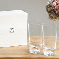 [Very Rare!] Edo Glass Mt. Fuji Tumbler Glass Pair (2) w/Wooden Box [Fully Limited Item]