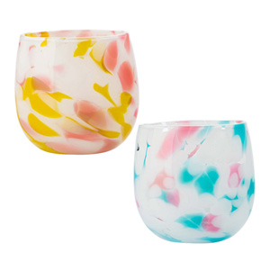 Ryukyu Glass Creation Plumeria Barrel Glass Yellow & Blue