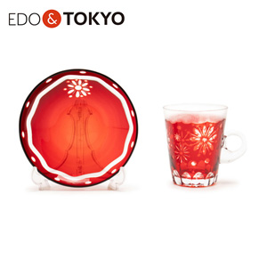 Edo Glass Edo Fireworks Chrysanthemum Cup & Saucer Red