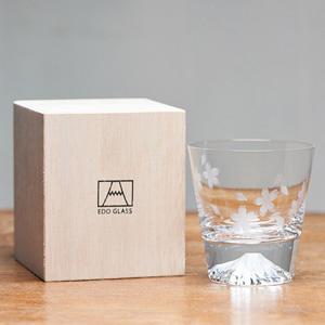 [Hiroki Meguro] Edo Glass Mt. Fuji Glass Bountiful Sakura Blossoms Wooden Box [Limited Edition]