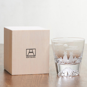 [Hiroki Meguro] Edo Glass Mt. Fuji Glass Cats and Moon in wooden box [Limited Edition]