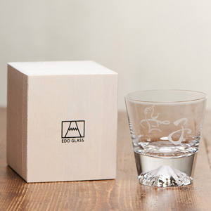 [Limited] Edo Glass Mt. Fuji Glass Zodiac / Child (Mouse) in Wooden Box