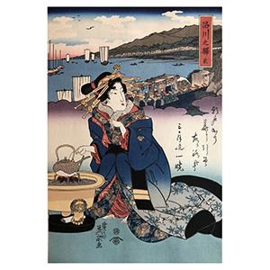 浮世繪 美人東海道・第2圖 品川之驛