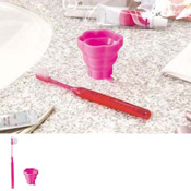 Collapsible Cup & Toothbrush Flower, B015 Deep Pink  / Toiletries