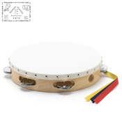 Yamayo Tambourine, Clear/Wood Grain (White Frame), 24cm