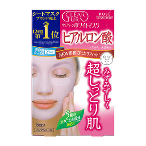 Clear Turn White, Mask, Hyaluronic Acid, 5-Pack