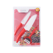 Ceramic Knife Kitchen Set, 4-Piece Set (Red)