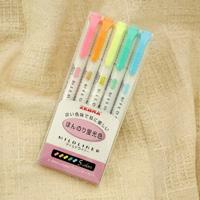 ZEBRA Mildliner, Slightly Fluorescent Color, 5 Colors