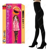 Onna no Yokubo Slender-Leg Inner-Fleece Pile Stomach-Wrap Tights, 200DEN L-LL (Black)