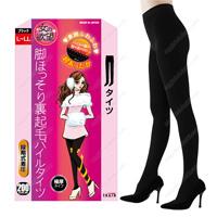 Onna no Yokubo Slender-Leg Inner-Fleece Pile Tights, 200DEN L-LL (Black)
