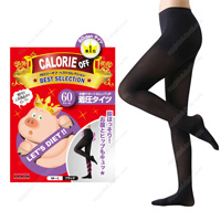 Calorie Off Stomach Support & Hip-UP Compression Tights, 60DEN M-L (Black)