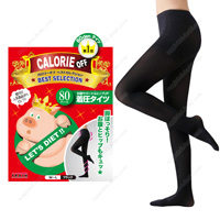 Calorie Off Stomach Support & Hip-UP Compression Tights, 80DEN M-L (Black)