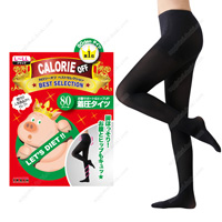 Calorie Off Stomach Support & Hip-UP Compression Tights, 80DEN L-LL (Black)