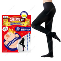 Calorie Off Stomach Support & Hip-UP Compression Tights, 120DEN M-L (Black)