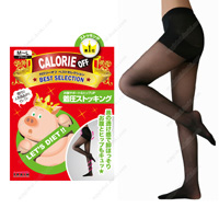 Calorie Off Stomach Support & Hip-UP Compression Stockings, M-L (Black)