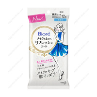 Biore Refresh Sheet For Use Over Makeup, Fragrance-Free, For Portable Use, 12