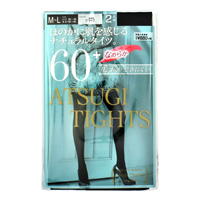ATSUGI Tights, Subtly Transparent Natural Tights, 60 Denier, Black, M-L (2-Pair Set)