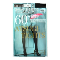 ATSUGI Tights, Subtly Transparent Natural Tights, 60 Denier, Black, L-LL (2-Pair Set)