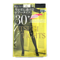 ATSUGI Tights, Beautifully Transparent Sheer Tights, 30 Denier, Black, M-L (2-Pair Set)