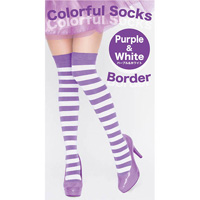 Colorful Striped Socks  (Purple x White)
