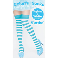 Colorful Striped Socks (Sky Blue x White)