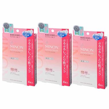 Minon Amino Moist Soft & Moisture-Rich Skin Mask, 22ml x 4-Pack *3