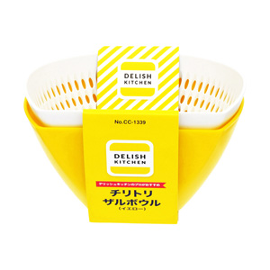 DELISH KITCHEN Salad Bowl and Strainer (Yellow) 650ml