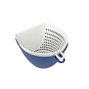 DELISH KITCHEN Salad Bowl and Strainer (Navy) 650ml