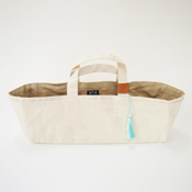 Cohana Canvas Tool Bag, Ecru/Pale Blue