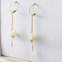 Four Season Crane Earrings #04 Winter White