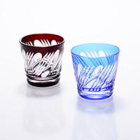 Sake Cup Set Misuji Pattern, Copper Red/Lapis Lazuli